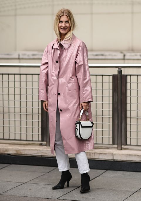 Clothing, Pink, Street fashion, Fashion, Trench coat, Coat, Snapshot, Outerwear, Footwear, Beige,