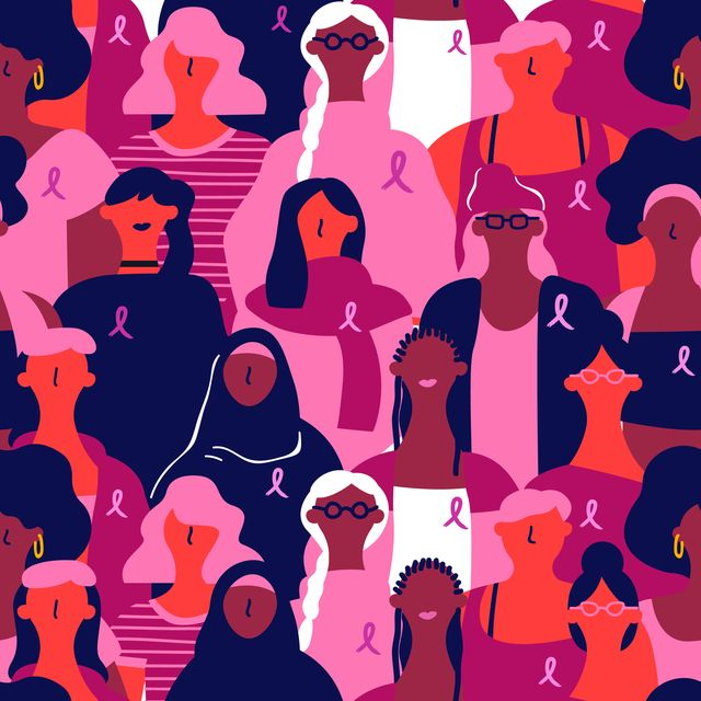 breast cancer awareness seamless pattern, diverse women with pink support ribbon loop background of multi ethnic woman group for prevention campaign