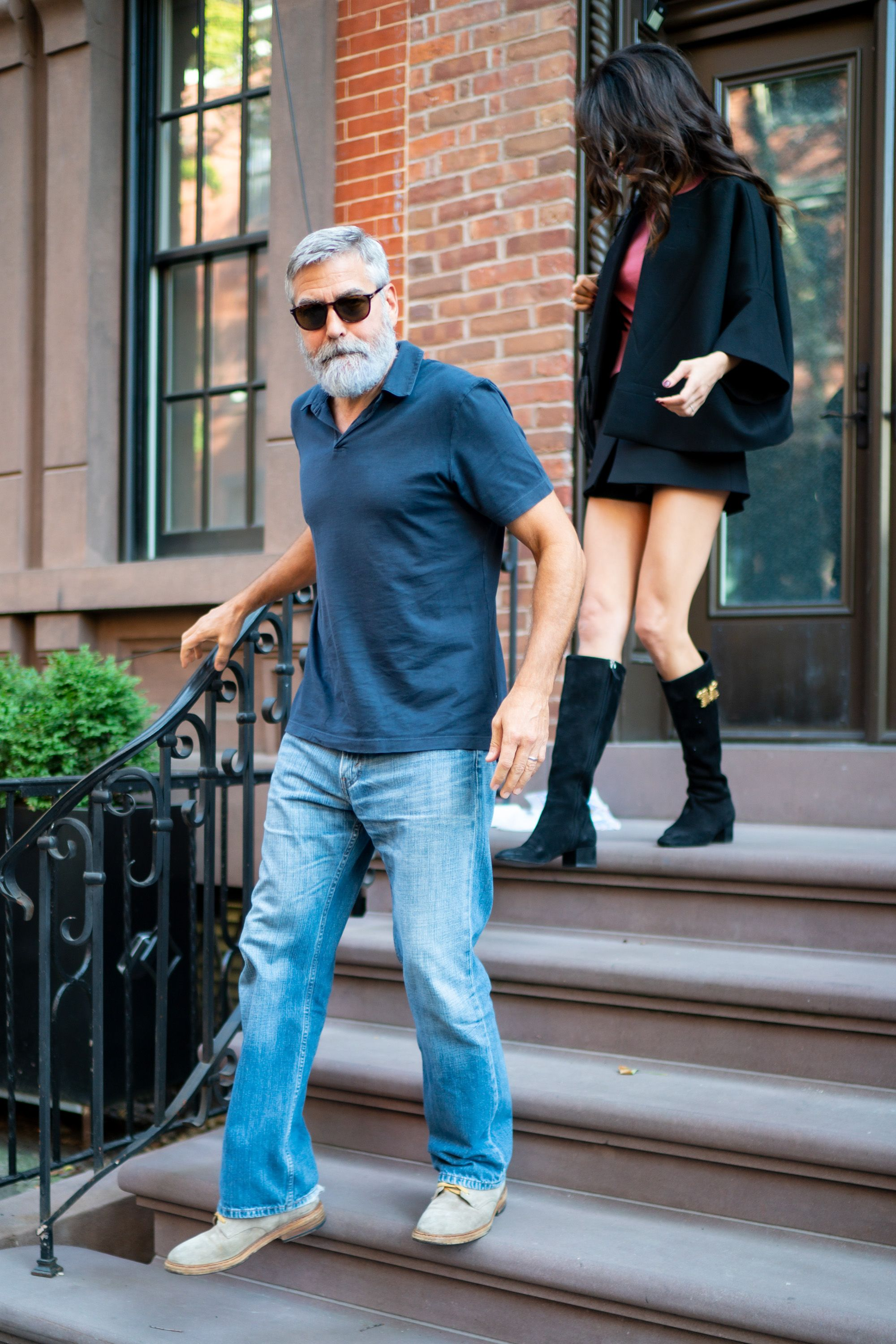 Bearded George Clooney Sports Easygoing Style With Amal