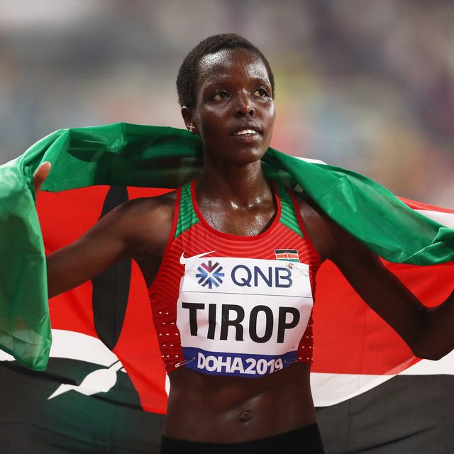 doha, qatar   september 28  agnes jebet tirop of kenya celebrates winning bronze in the womens 10,000 metres final during day two of 17th iaaf world athletics championships doha 2019 at khalifa international stadium on september 28, 2019 in doha, qatar photo by alexander hassensteingetty images for iaaf