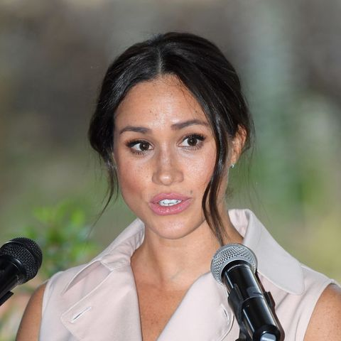 johannesburg, south africa   october 02 meghan, duchess of sussex accompanied by prince harry, duke of sussex attends a reception to celebrate the uk and south africa's important business and investment relationship at the high commissioner's residence during their royal tour of south africa on october 02, 2019 in johannesburg, south africa photo by karwai tangwireimage