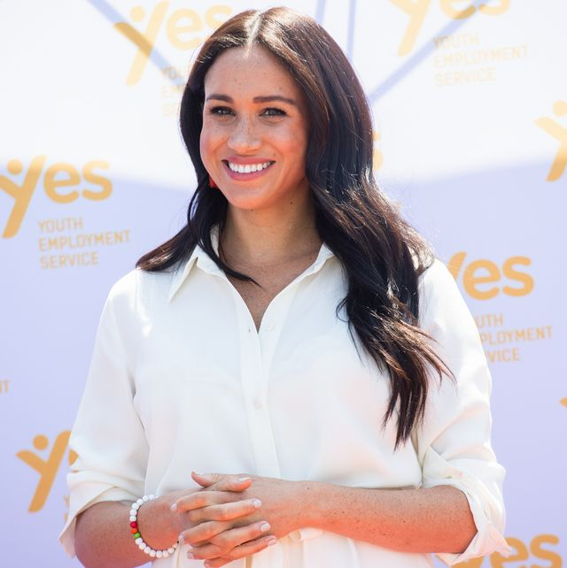 johannesburg, south africa   october 02 uk out for 28 days meghan, duchess of sussex accompanied by prince harry, duke of sussex visit the tembisa township to learn about youth employment services during their royal tour of south africa on october 02, 2019 in johannesburg, south africa  photo by poolsamir husseinwireimage