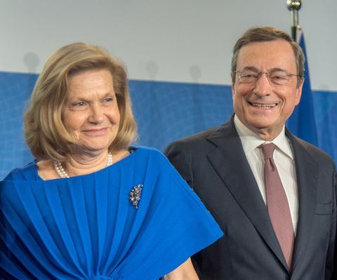 frankfurt am main, germany   october 28 mario draghi, outgoing president of the european central bank ecb and his wife serena draghi during a farewell ceremony for mario draghi at the headquarters of the european central bank on october 28, 2019 in frankfurt am main, germany photo by bernd kammerer   pool  getty images
