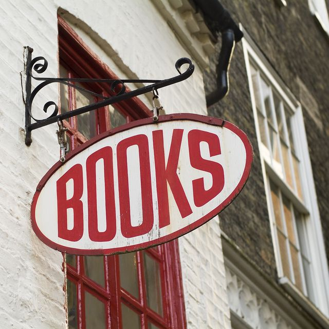 sign of a traditional english bookstore, simply stating books
