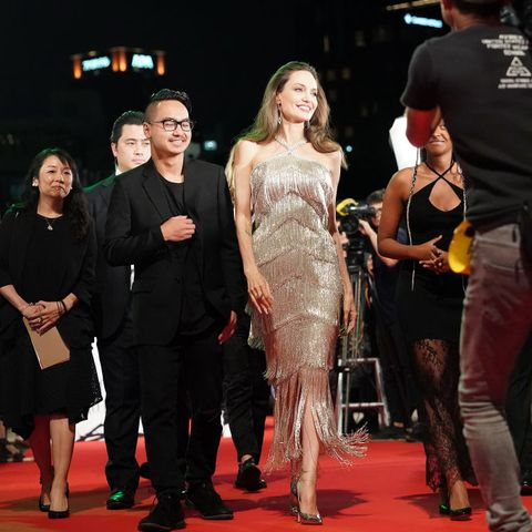 Angelina Jolie Dazzles In Fringed Silver Ralph Russo