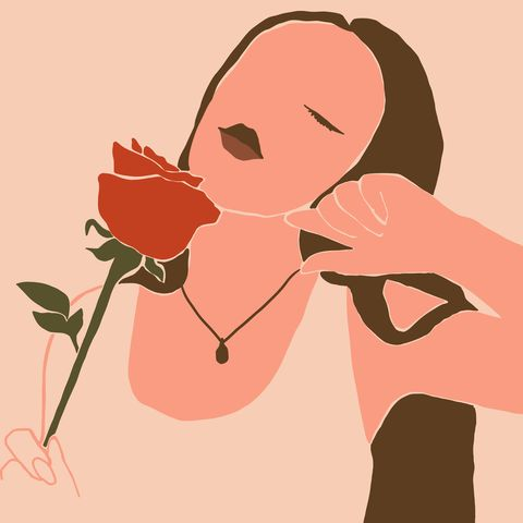 the womans face with a rose minimal style abstract contemporary collage in a modern trendy style vector portrait of a female for beauty concept, t shirt print, card, poster, social media post