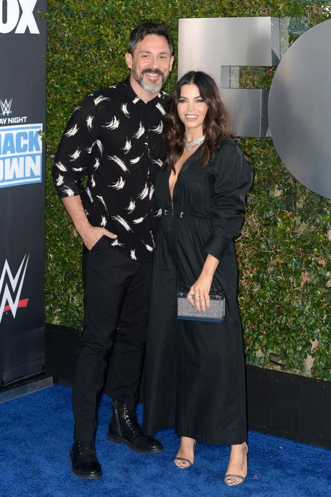 los angeles, california   october 04 steve kazee and jena dewan attend wwe 20th anniversary celebration marking premiere of wwe friday night smackdown on fox at staples center on october 04, 2019 in los angeles, california photo by jerod harrisgetty images