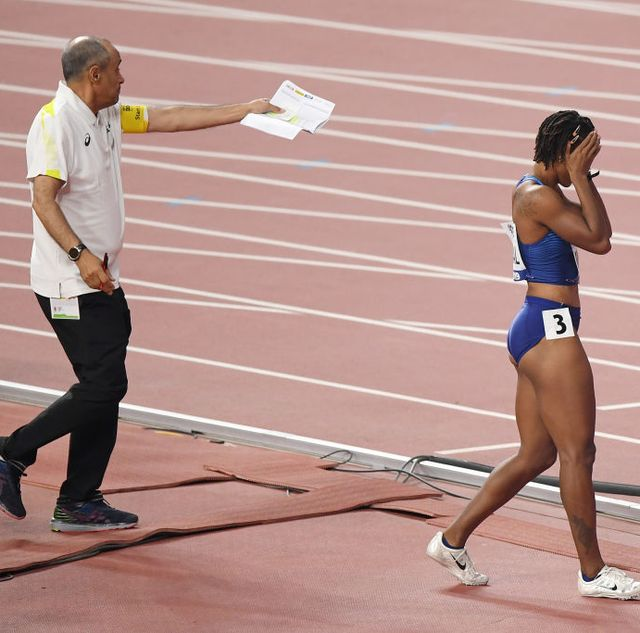 doha, qatar   october 05  brianna mcneal of the united states reacts after being disqualified in the womens 100 metres hurdles heats during day nine of 17th iaaf world athletics championships doha 2019 at khalifa international stadium on october 05, 2019 in doha, qatar photo by matthias hangstgetty images