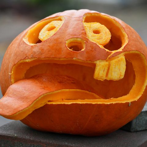 01 november 2019, thuringia, volkenroda a pumpkin with a funny face carved into it adorns a house entrance according to the weather forecasts, the coming days will also be cloudy and rainy photo frank maydpazb photo by frank maypicture alliance via getty images