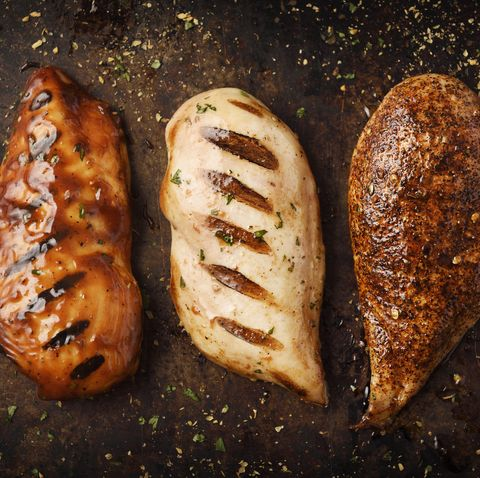 grilled and roast chicken breast with seasoning in a cooking pan