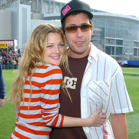 drew barrymore and adam sandler during mtvs trl at super bowl xxxviii at reliant stadium in houston, texas, united states photo by kmazurwireimage