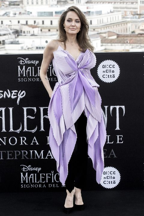 Angelina Jolie Wears An Oversized Purple Givenchy Bow Top In