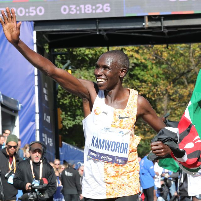 new york, ny   november 03 geoffrey kamworor celebrates a first place finish during the tcs new york city marathon in central park on november 3, 2019 in new york city photo by photorunnew york road runners via getty images