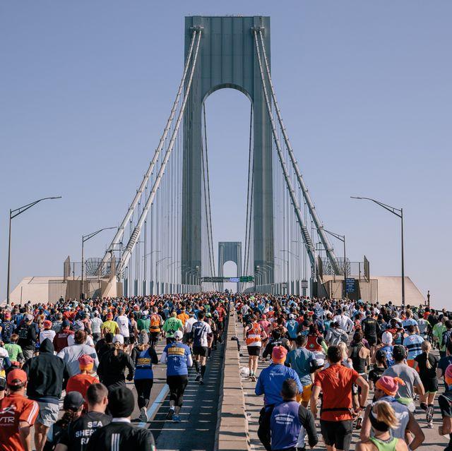 new york, ny   november 03 runners cross the tcs new york city marathon on the verrazzano bridge on november 3, 2019 in new york city photo by  drew levinnew york road runners via getty images