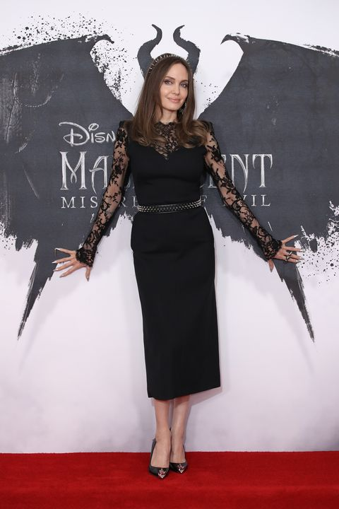 Angelina Jolie Wears Alexander Mcqueen Black Lace Dress At