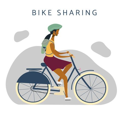 bike sharing  illustration woman on bicycle riding online bicycle rent service concept flat vector for banner, web, mobile app, flyer, poster