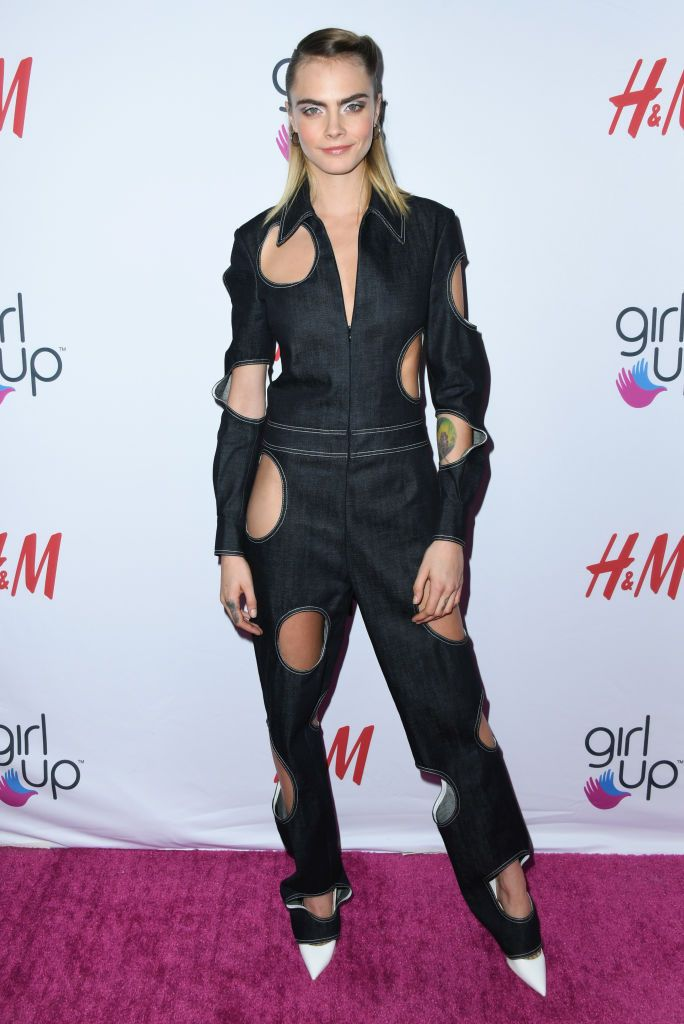 Cara Delevingne Takes Polka-Dots To The Next Level In Cute Cut-Out Jumpsuit