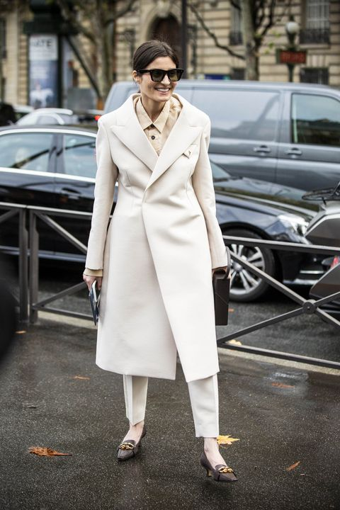 Clothing, White, Street fashion, Coat, Fashion, Trench coat, Fashion model, Overcoat, Snapshot, Haute couture,