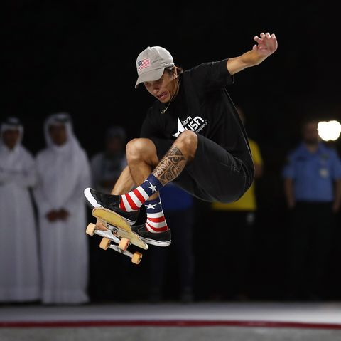 doha, qatar   october 15 heimana reynolds of the usa in action on his way to winning the mens skateboard competition at aspire zone during the anoc world beach games on october 15 2019 in doha, qatar photo by bryn lennongetty images
