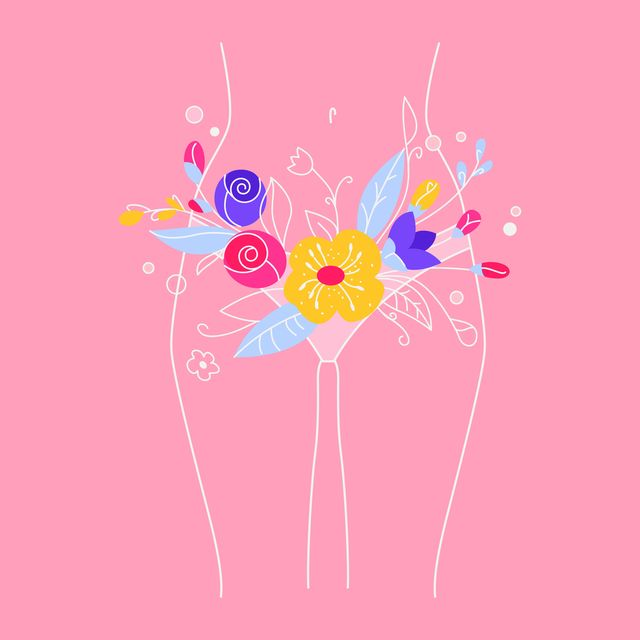 illustration of  female body with flowers and leaves the period of menstruation stylized illustration about body care, weight loss and treatment