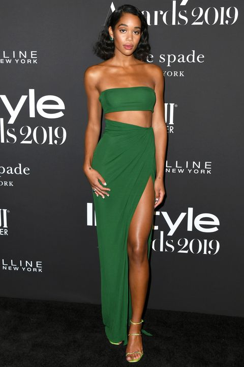 Clothing, Dress, Shoulder, Green, Fashion model, Strapless dress, Cocktail dress, Fashion, Waist, Hairstyle,