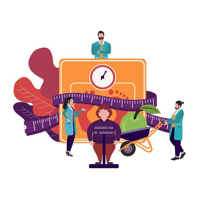 fat obese woman on scales and doctor showing obesity deseases  flat tiny persons concept diet chart obesity health problem overweight treatment concept