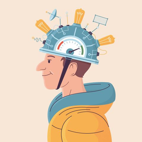 Illustration of DIY helmet with light bulbs