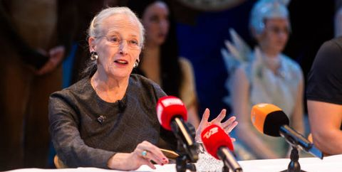 copenhagen, denmark   november 19 queen margrethe of denmark during a press meeting in tivolis concert hall about the new ballet, the snow queen, on november 19, 2019 in copenhagen, denmark queen margrethe is the ballets costume and production designer, which she has done eight times before with tivoli the music is produced by electropop singer and songwriter, oh land nanna Øland fabricius, and yuri possokhov is the choreographer the ballet is a new interpretation of the fairy tale, the snow queen, written by the danish 19th century author h c andersen  the ballet will premiere on december 1st 2019 in tivoli copenhagen photo by ole jensengetty images