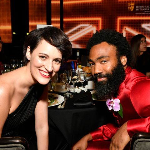 beverly hills, california   october 25 l r phoebe waller bridge and donald glover pose during the 2019 british academy britannia awards presented by american airlines and jaguar land rover at the beverly hilton hotel on october 25, 2019 in beverly hills, california photo by frazer harrisonbafta lagetty images for bafta la