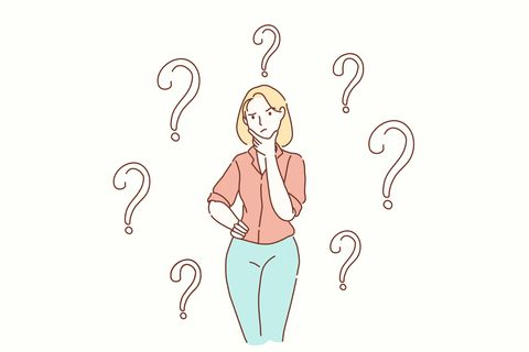 Thoughtful serious young woman looking away with hand on chin feeling doubt isolated , millennial girl with unsure face thinking of question considering uncertain about making decision on blank background