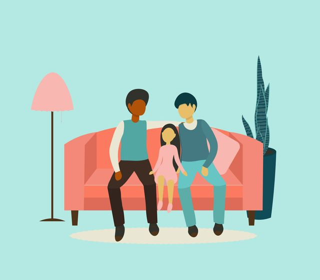 flat design vector illustration on gay family two adult men and teenager sitting together on sofa husband and husband with his daughter gay parents with child