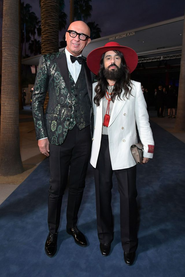los angeles, california   november 02 l r marco bizzarri and alessandro michele, wearing gucci, attend the 2019 lacma art  film gala presented by gucci at lacma on november 02, 2019 in los angeles, california photo by charley gallaygetty images for lacma
