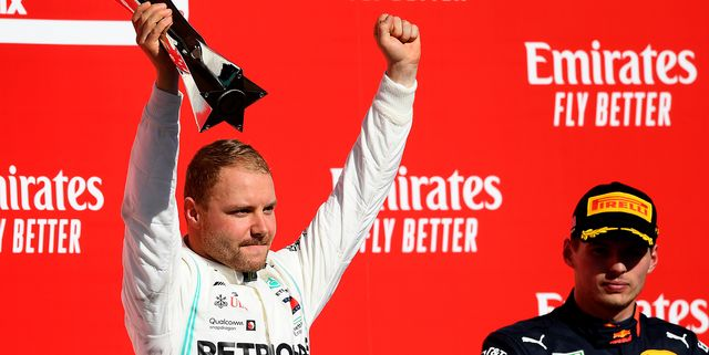 austin, texas   november 03 race winner valtteri bottas of finland and mercedes gp celebrates on the podium during the f1 grand prix of usa at circuit of the americas on november 03, 2019 in austin, texas photo by clive masongetty images