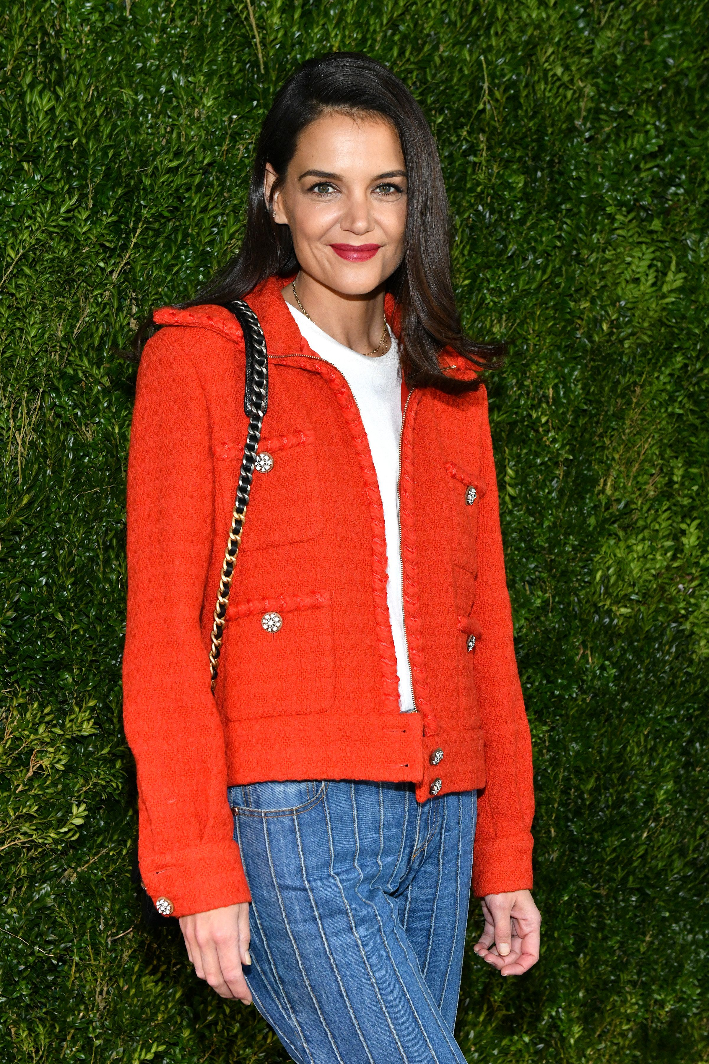 Katie Holmes Stuns in an Oversize White Wardrobe.NYC Coat