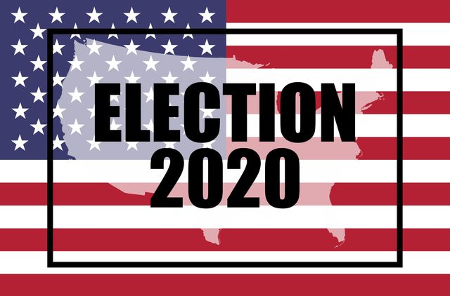 election, 2020 concept the american flag and moving text   election 2020 with a double exposure of a map of the united states on top