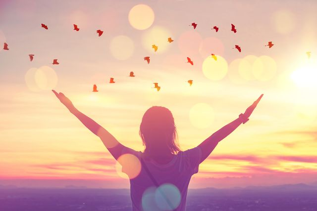 freedom feel good and travel adventure concept copy space of silhouette woman rising hands on sunset sky at top of mountain and bird fly abstract background vintage tone filter effect color style