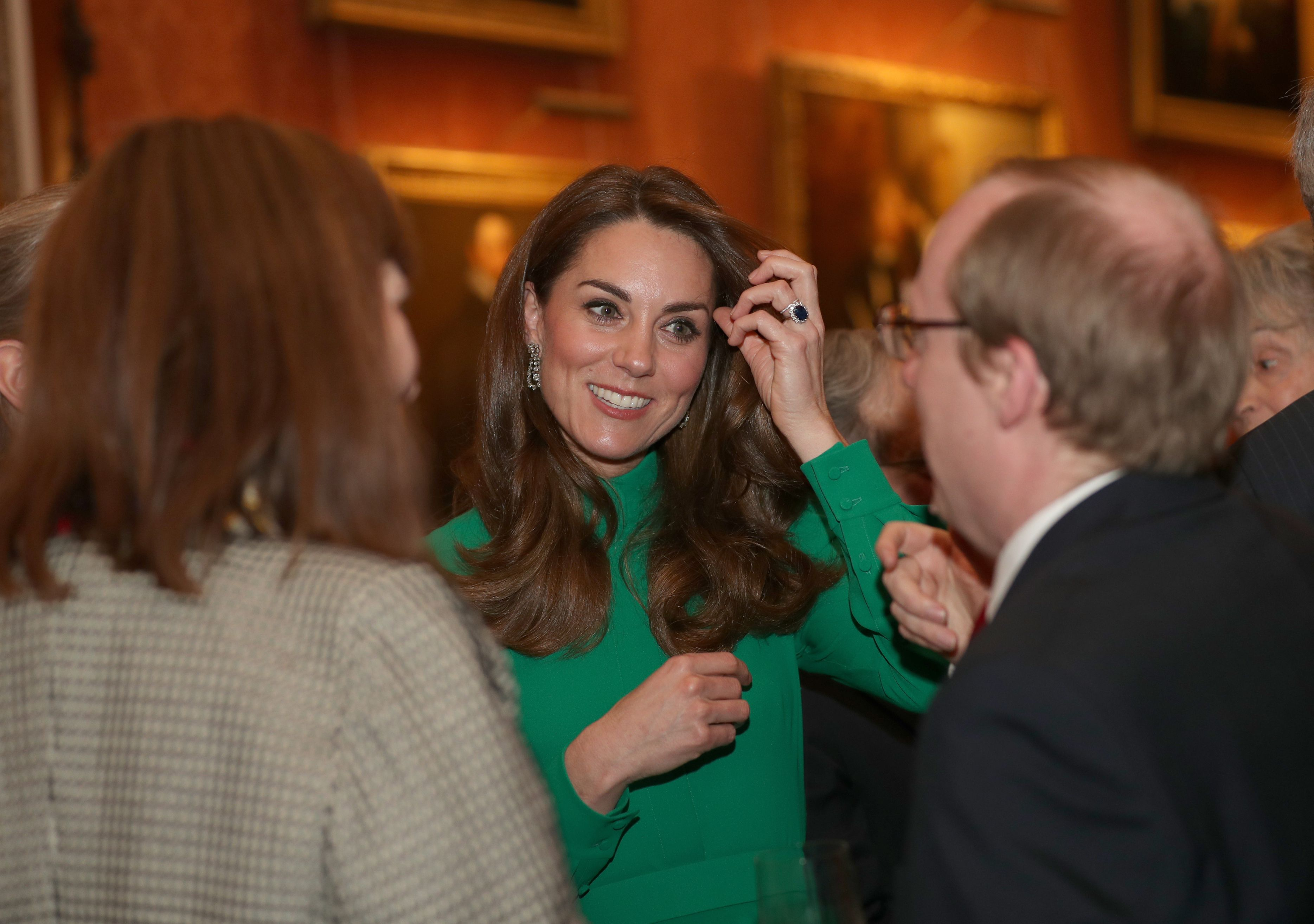 Kate Middleton Stuns In Green Emilia Wickstead Dress To Meet Donald And Melania Trump At Buckingham Palace