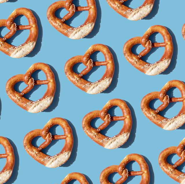 Repeated pretzels on blue background