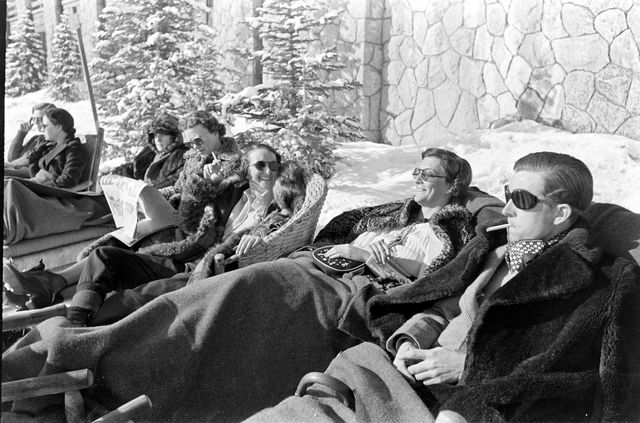 people relaxing at the skiing resort at sun valley lodge, sun valley, idaho, 1937 photo by alfred eisenstaedtthe life picture collection via getty images