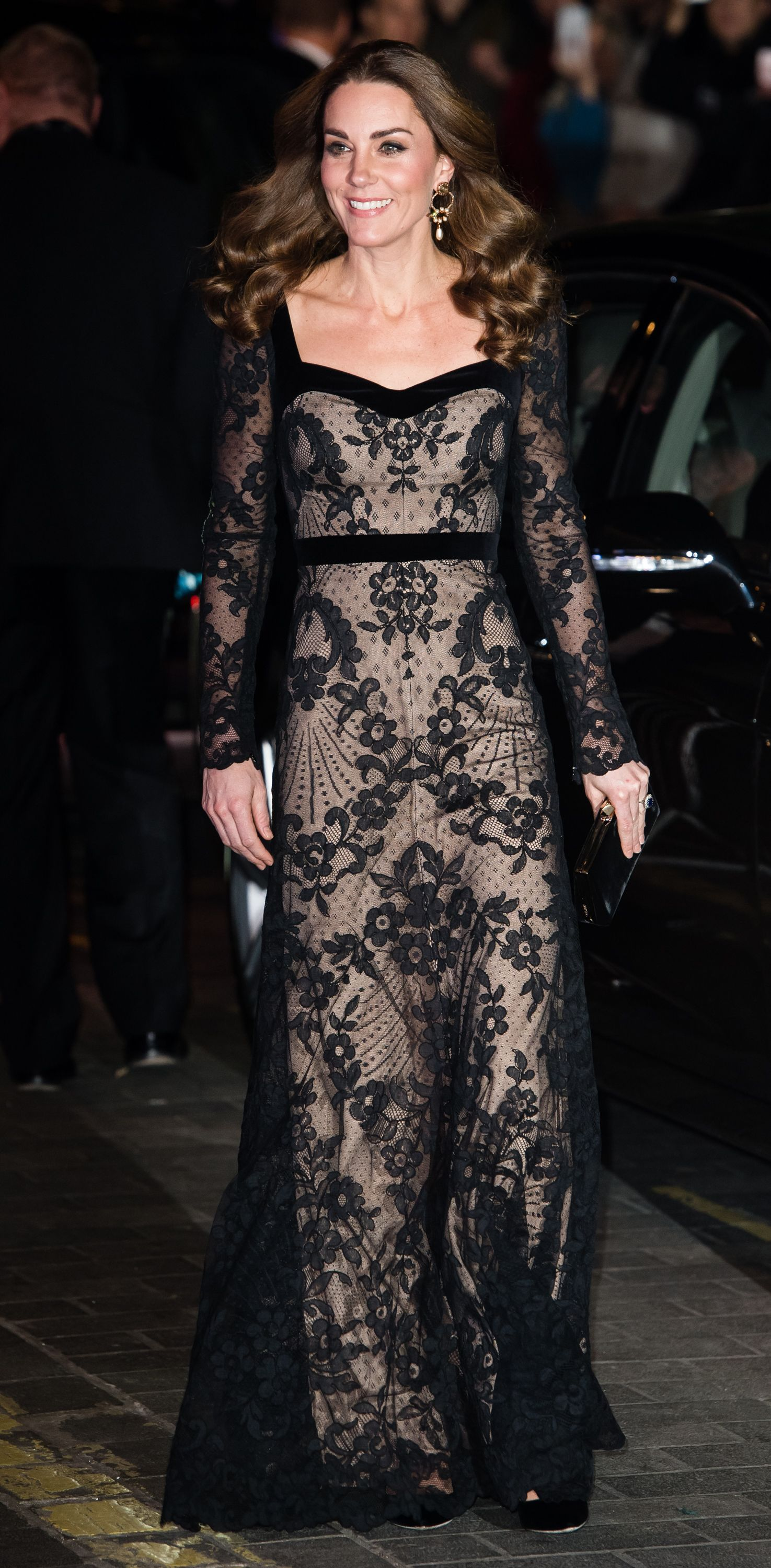 Kate Middleton wears a sheer black lace gown to the Royal Variety Performance