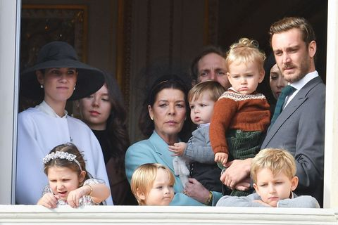 monte carlo, monaco   november 19   l r tatiana santo domingo, alexandra of hanover, princess caroline of hanover, andrea casiraghi, pierre casiraghi with francesco casiraghi, india casiraghi, stefano casiraghi and alexandre casiraghi pose at the palace balcony during the monaco national day celebrations on november 19, 2019 in monte carlo, monaco photo by stephane cardinale   corbiscorbis via getty images