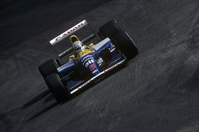 nigel mansell, williams renault fw14b, grand prix of germany, hockenheimring, 26 july 1992 nigel mansell on the way to victory in the 1992 german grand prix photo by paul henri cahiergetty images