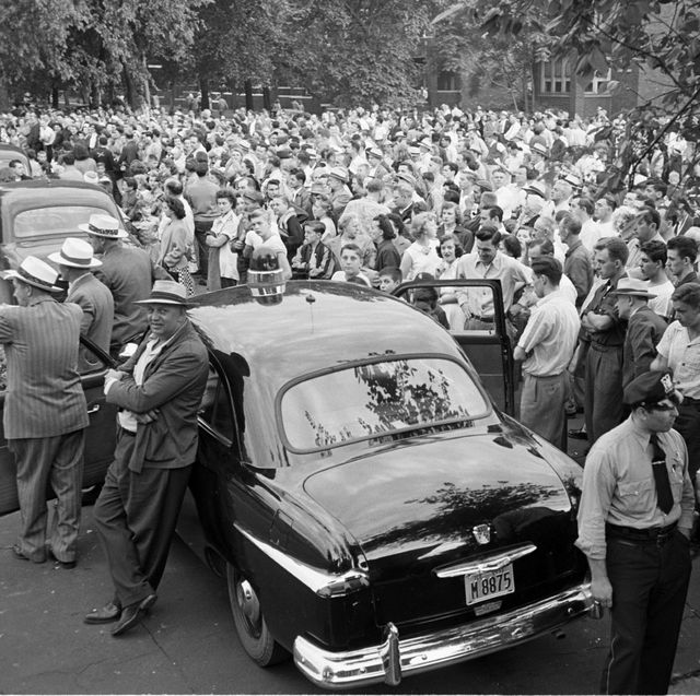 police controlling the crowd during a race riot with automobiles, cicero, illinois, 1951photo by ralph crane and wallace kirklandthe life picture collection via getty images