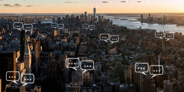 bubble chat for communication for text on manhattan skyline in new york city and sky background with bubble chat ,business analysis and strategy as concept