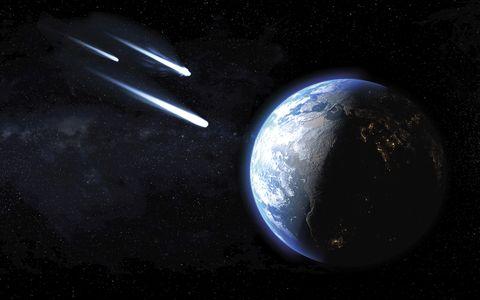 tre comete ghiacciate che passano attraverso il pianeta terra, illustrazione
