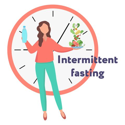 girl showing the concept of  intermittent fasting method of losing weight food window girl holds water and food against the background of the clock vector flat illustration