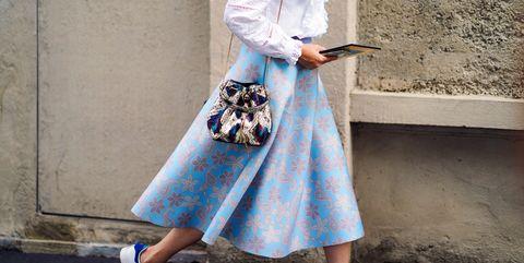Clothing, White, Street fashion, Blue, Fashion, Waist, Outerwear, Textile, A-line, Ankle,