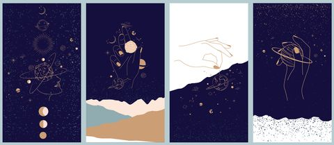 collection of space and mysterious illustrations for mobile app, landing page, web design in hand drawn style magic, occultism and astrology concept objects in the style of one line style