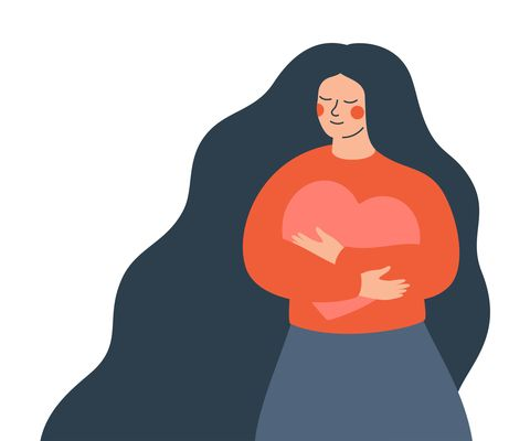 young woman hugs a big heart with love and care girl with long hair holds pink heart in her hands self care and body positive concept