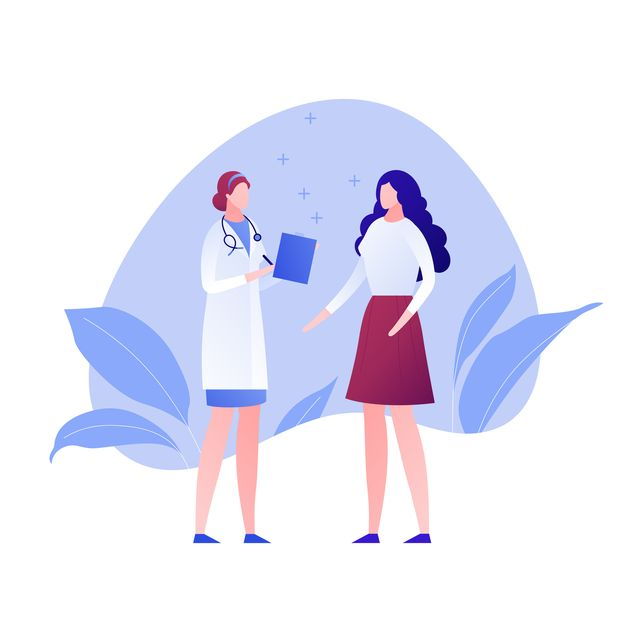 vector modern flat doctor and patient character illustration female medic and woman on amoeba background on white design element for gynecology, banner, poster, infographics, hospital, clinic